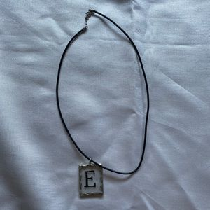 Initial soldered metal glass necklace